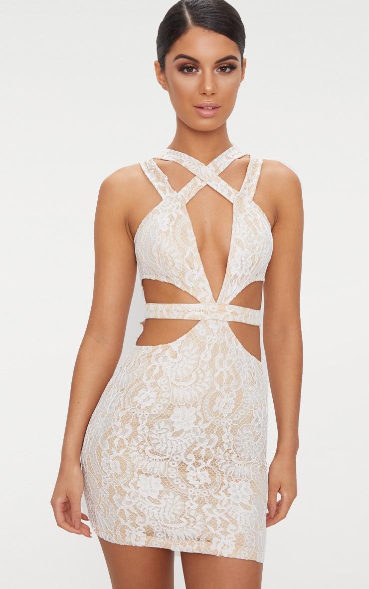 White Lace Cut Out Bodycon Dress 1