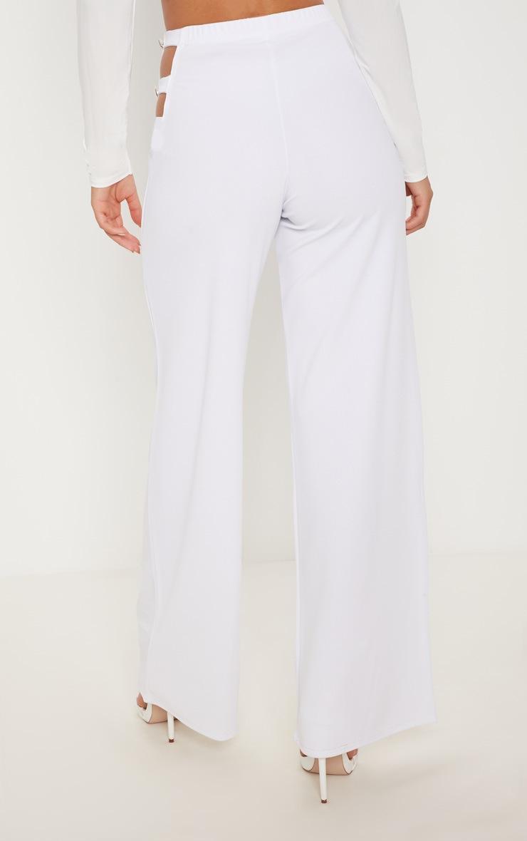 White Cut Out Side Button Wide Leg Trouser 4