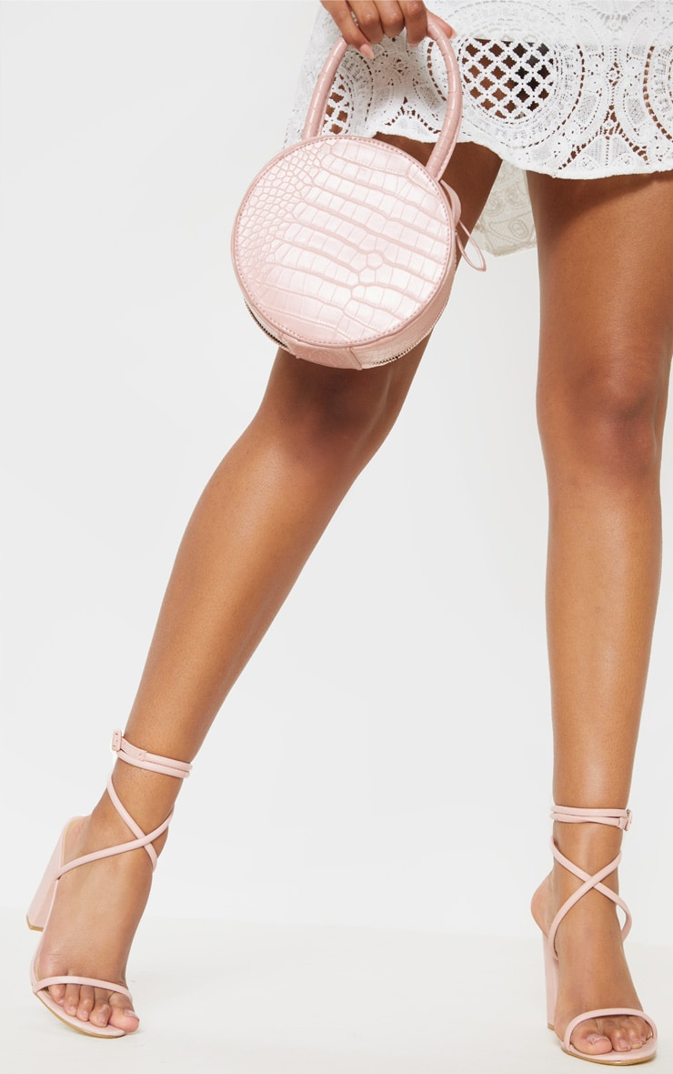 Dusty Pink Tube Strappy Block Heel Sandal 2