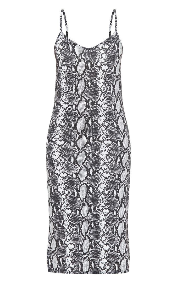 Monochrome Snake Print Split Jersey Midi Dress 3