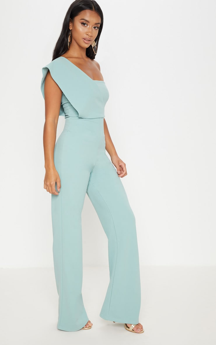 Petite Mint Drape One Shoulder Jumpsuit 4