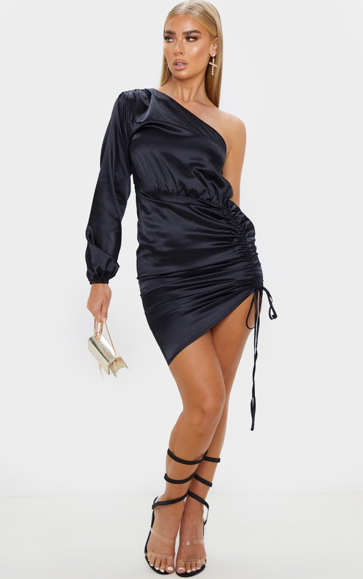 Black One Shoulder Ruched Satin Bodycon Dress 4