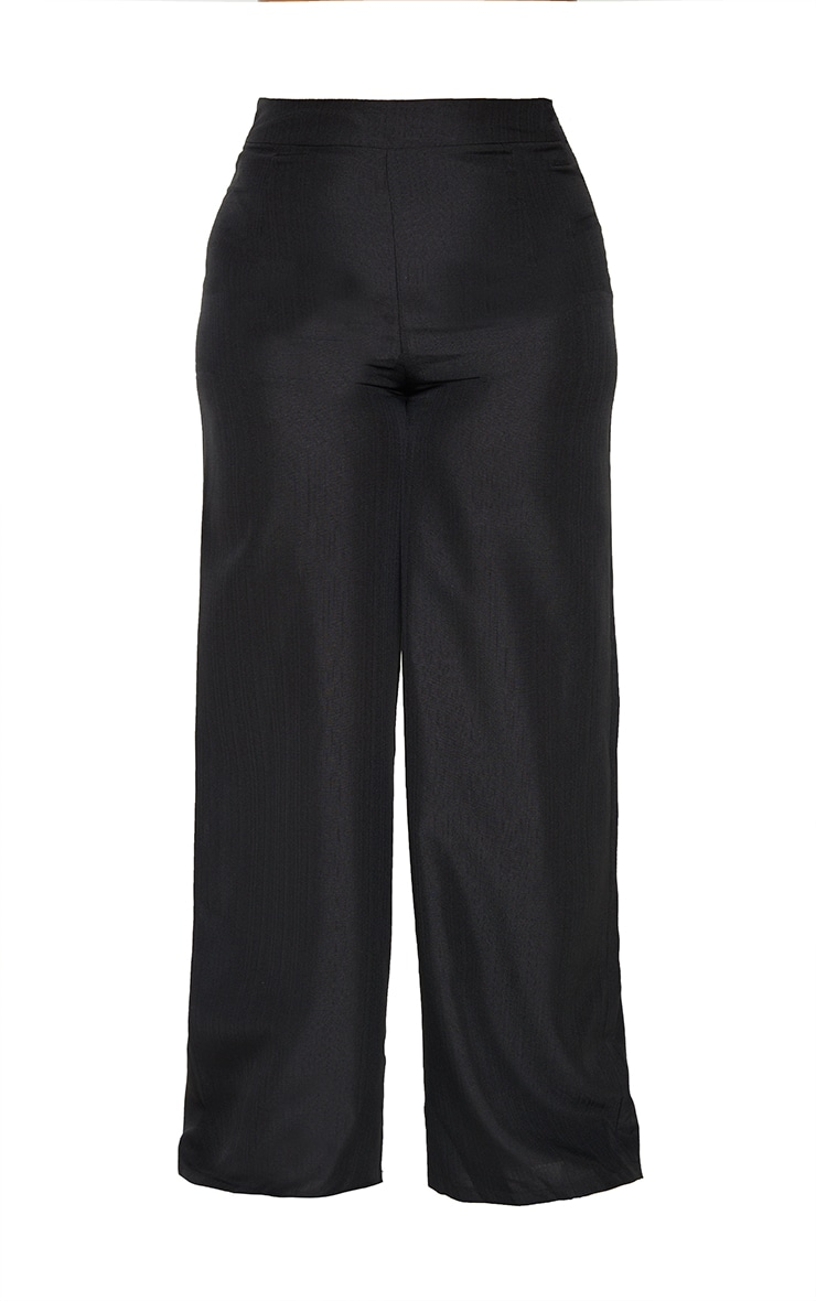 Plus Black High Waist Wide Leg Trousers 5