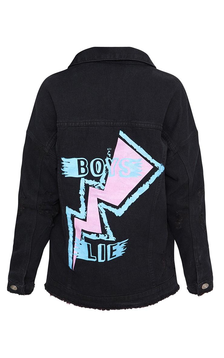 Black Wash Boys Lie Oversized Denim Jacket 4