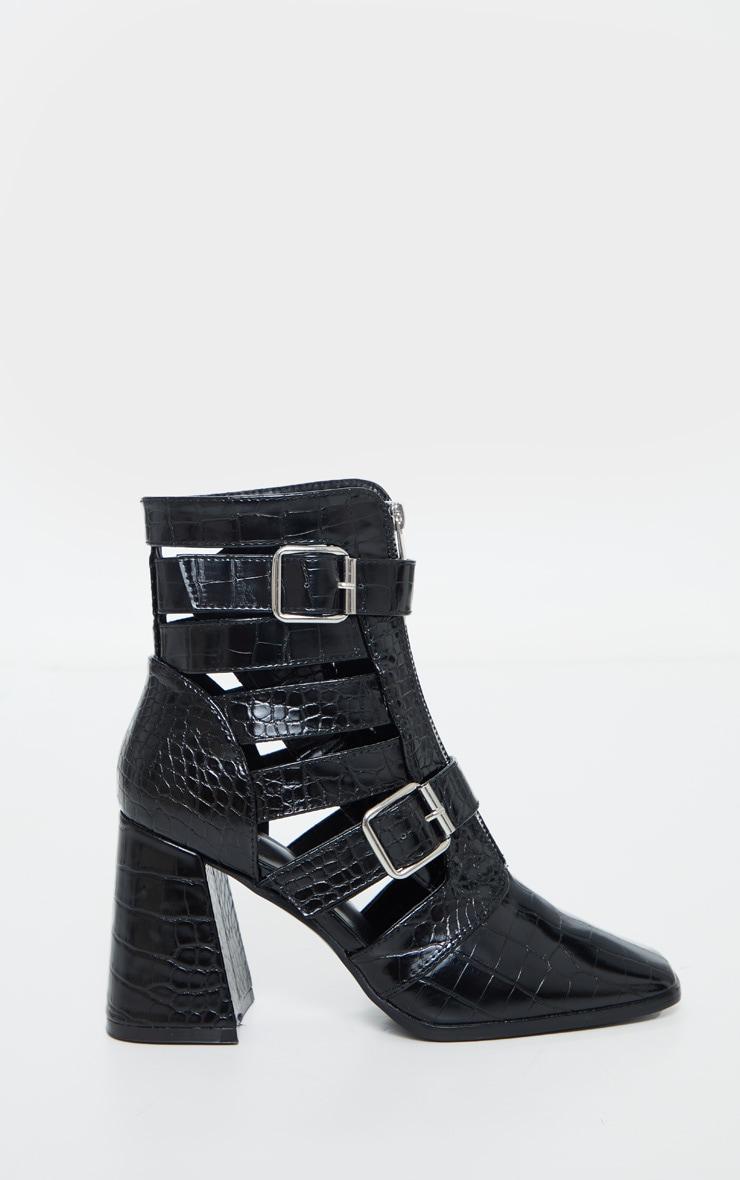 Black Flare Block Heel Buckle Open Ankle Boots 5