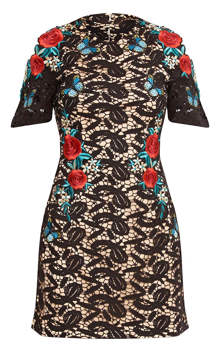 Black Lace Applique Shift Dress 4