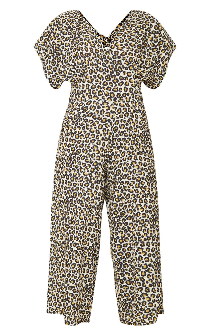 Tan Leopard Print Tie Back Short Sleeve Plunge Culotte Jumpsuit 5
