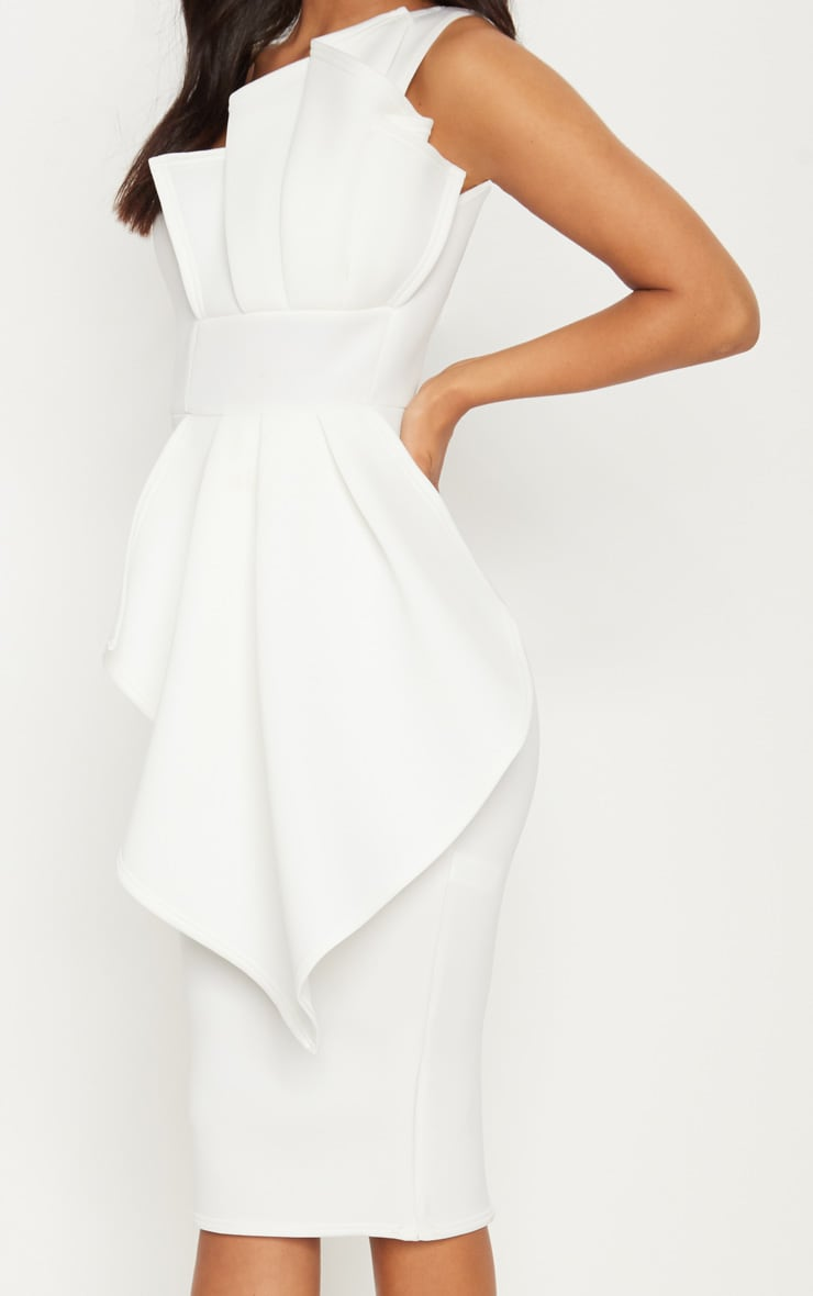 White One Shoulder Pleated Detail Midi Dress 5