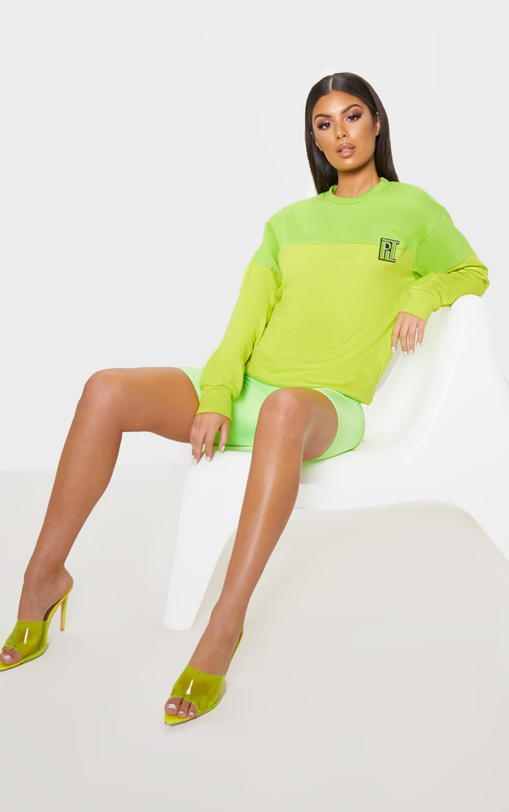 PLT Neon Lime Two Tone Oversized Sweater 4