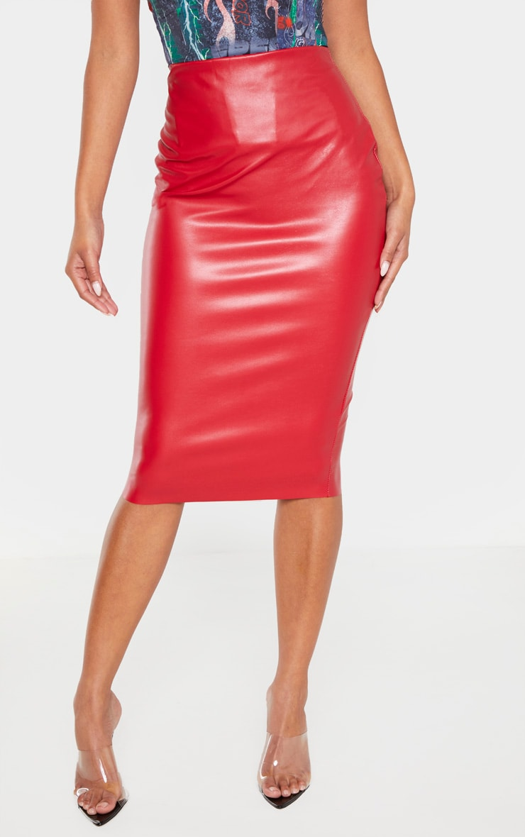 Red Basic Faux Leather Midi Skirt 2