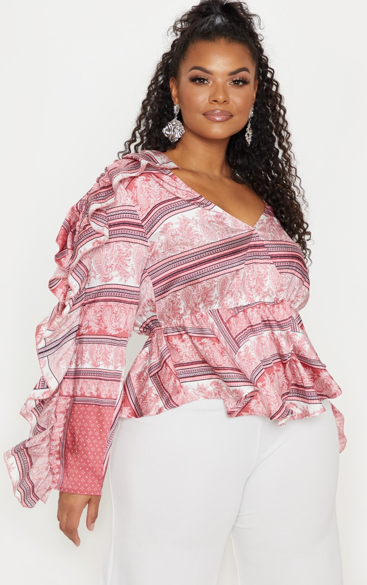 Plus Pink Paisley Print Frill Sleeve Blouse  1