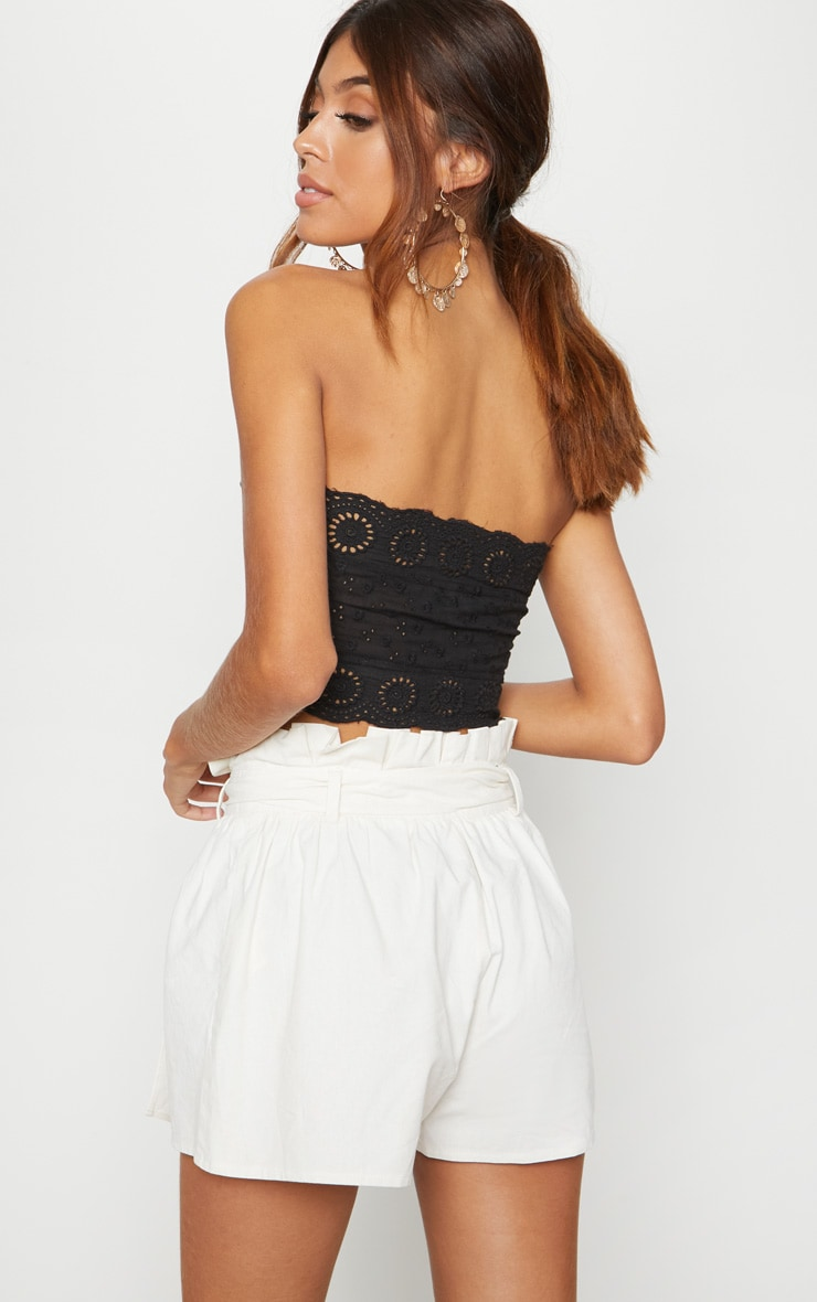 Black Broderie Anglaise Lace Up Bandeau Crop Top 2