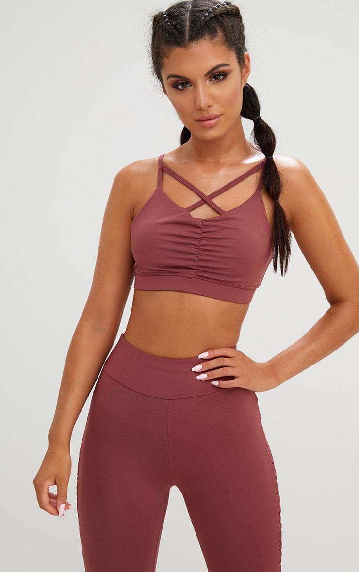 Rose Ruched Cross Front Crop Top 1