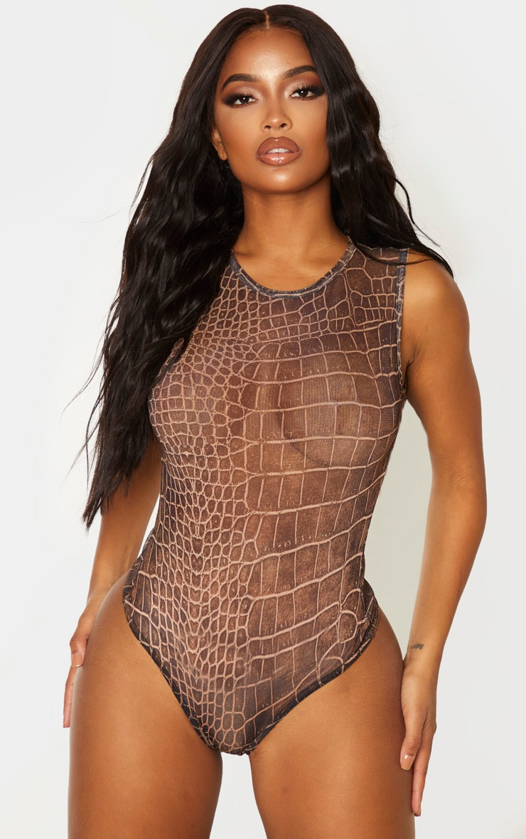 Shape Brown Croc Print Sheer Bodysuit 2