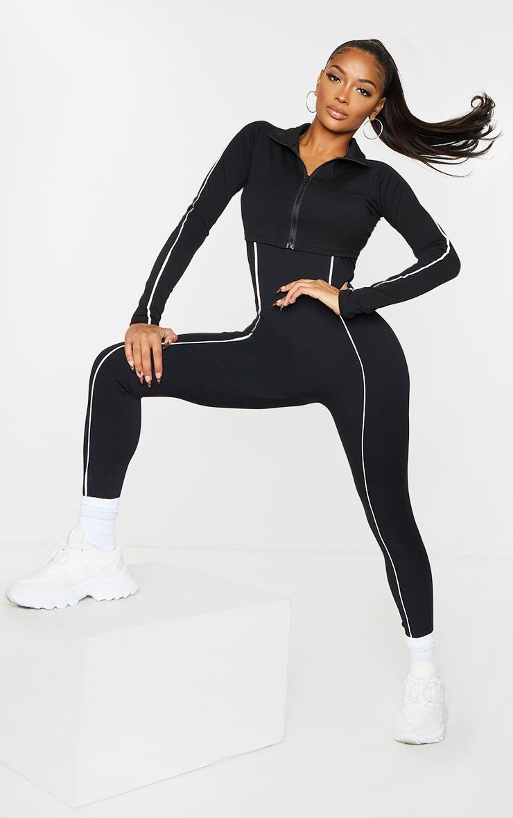 Shape Black Binding Detail Scoop Neck Sports Jumpsuit 3
