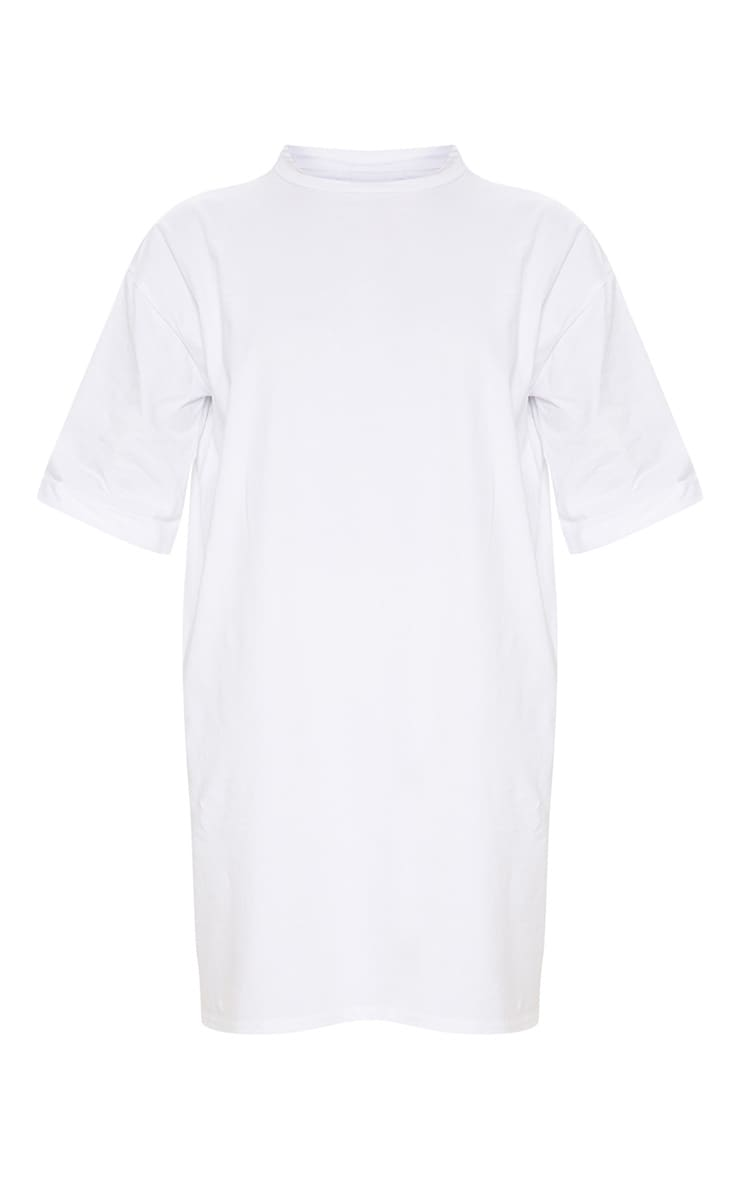 White Oversized Boyfriend Sleeve T Shirt Dress 3