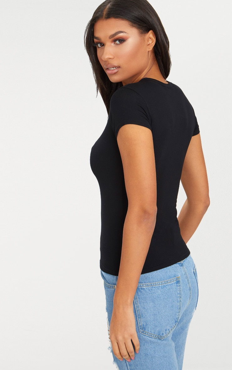 Basic Black Fitted Crew Neck T Shirt 2