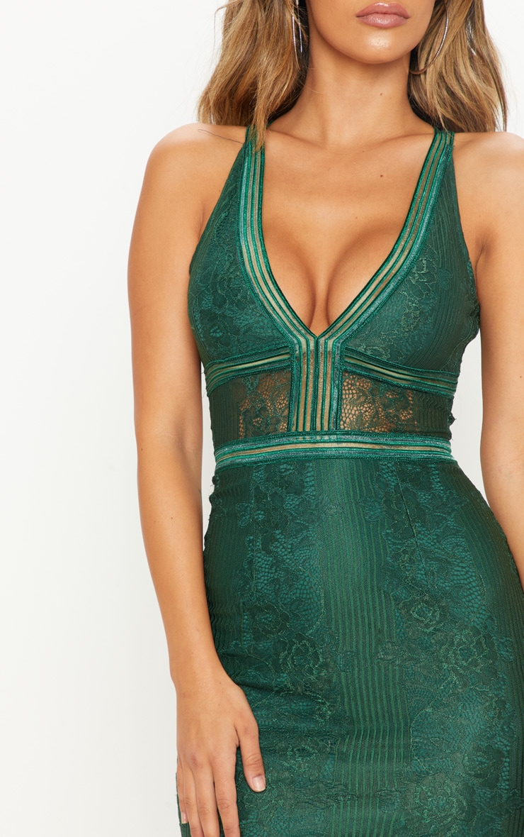 Emerald Green Plunge Lace Open Back Midi Dress 5