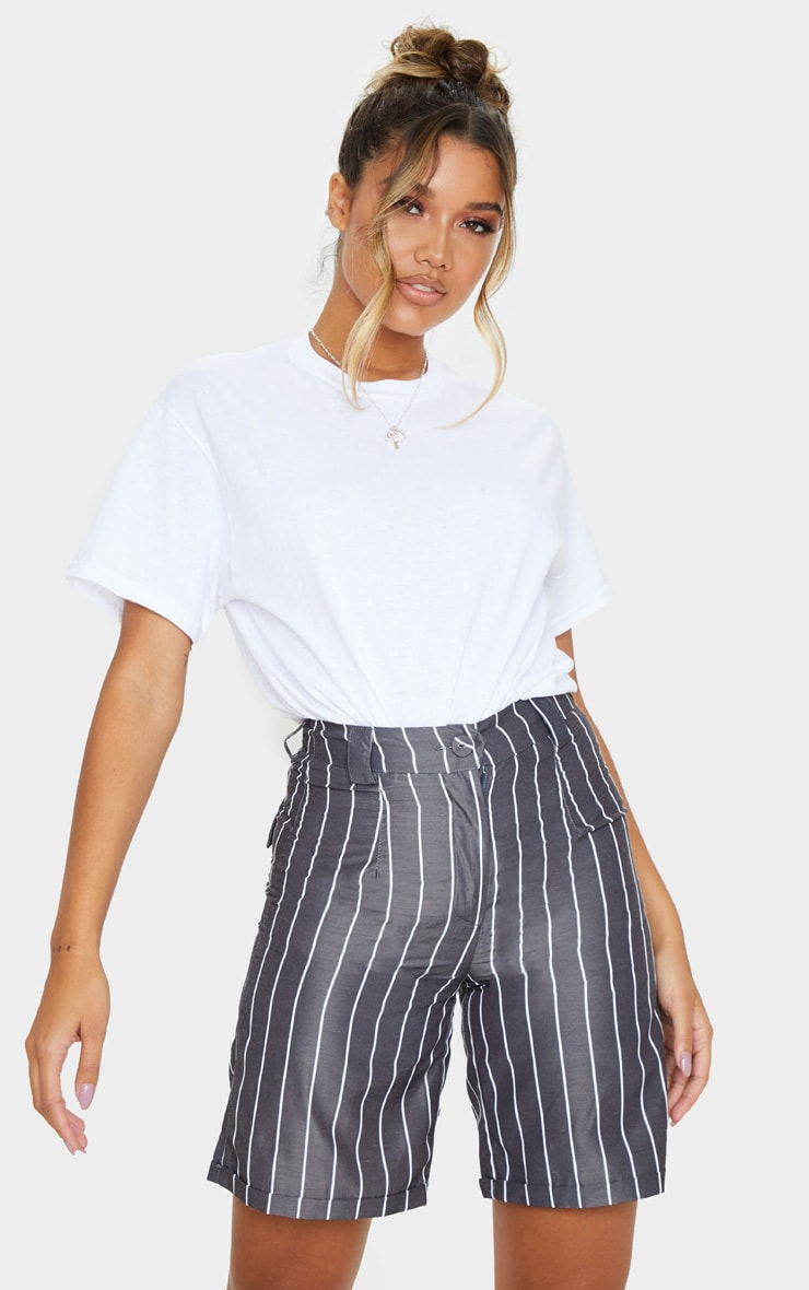Black Pinstripe Longline Turn Up Hem Tailored Short 5