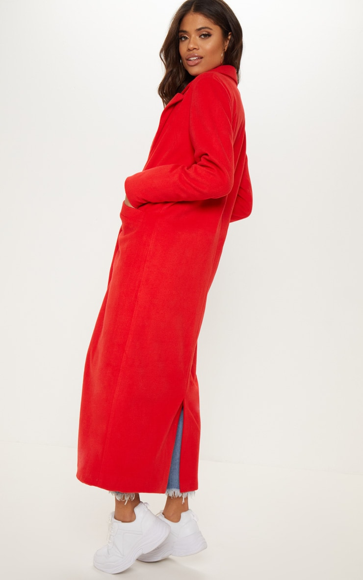 Red Longline Double Breasted Coat  2
