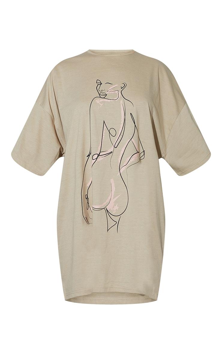 Stone Figure Illustrated Oversized T Shirt Dress 5