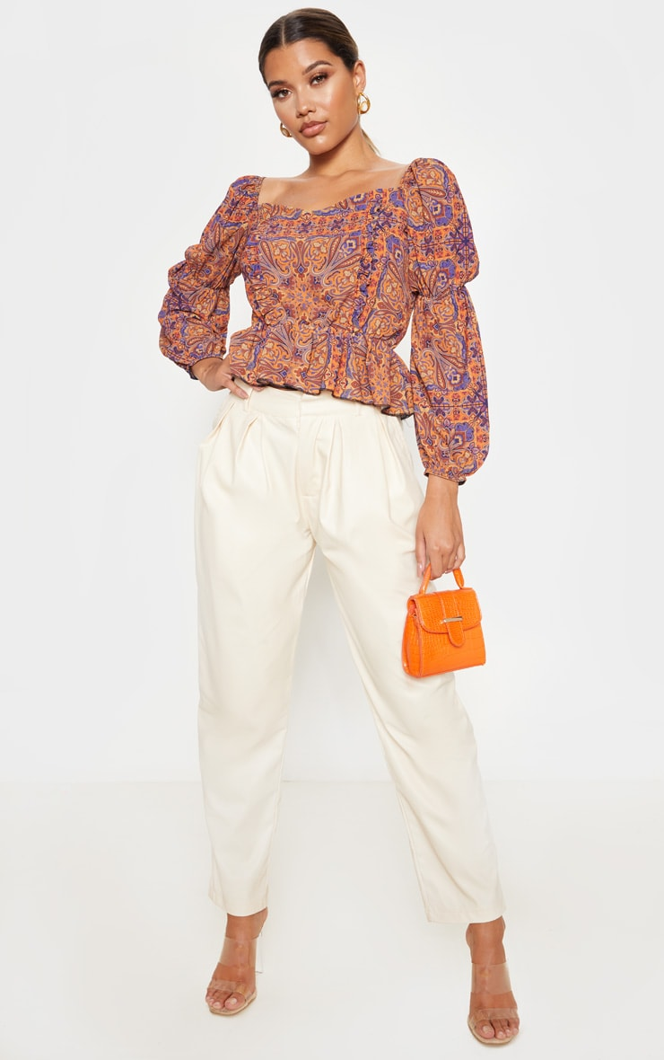 Rusty Paisley Printed Frill Square Neck Blouse 4