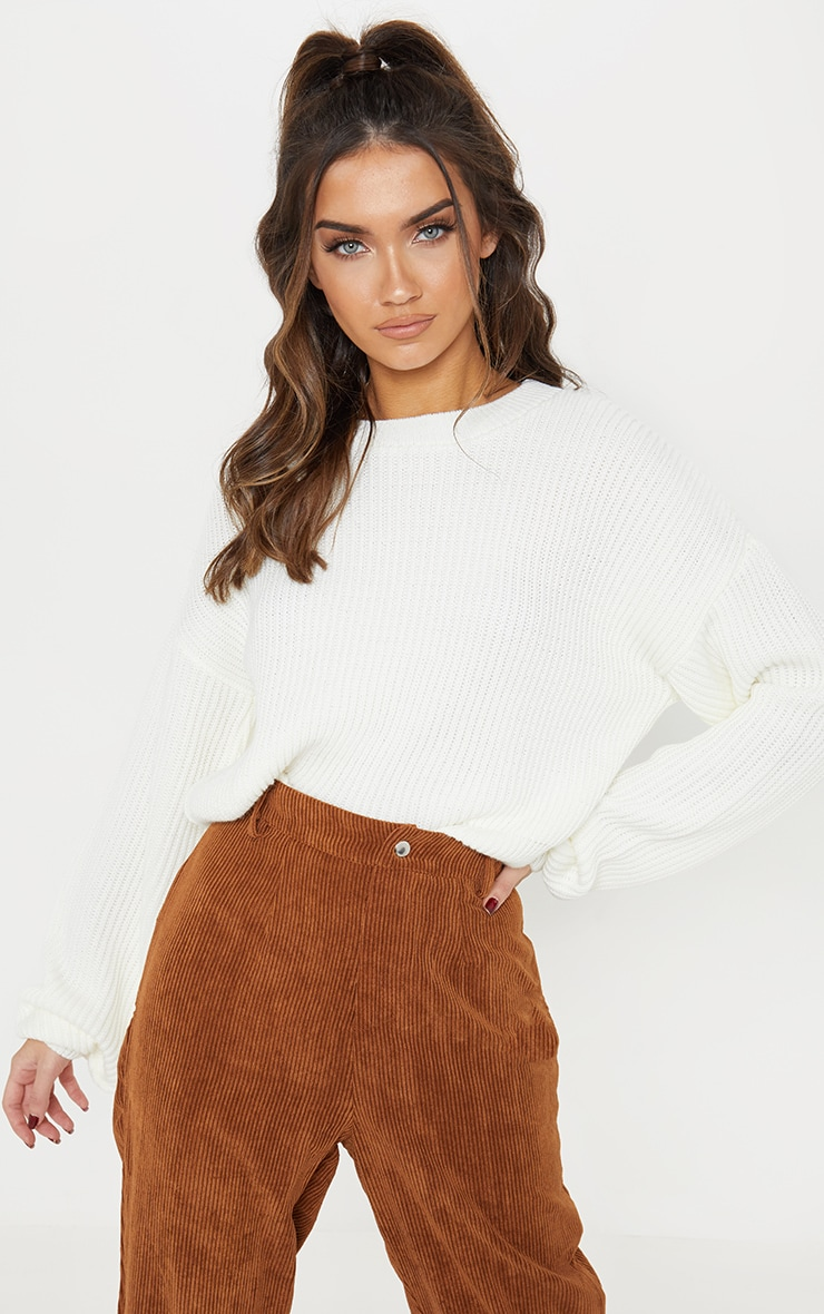Cream Wide Sleeve Knitted Sweater  2