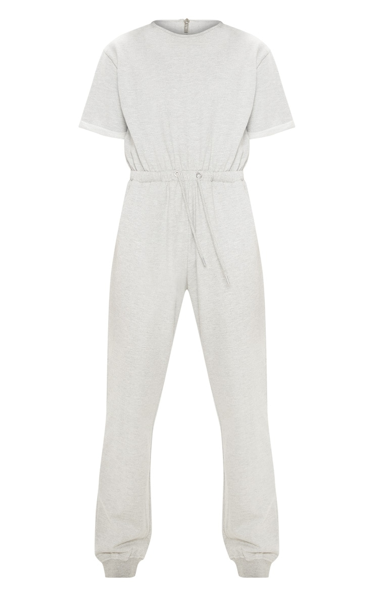 Grey Short Sleeve Sweat Jumpsuit  3