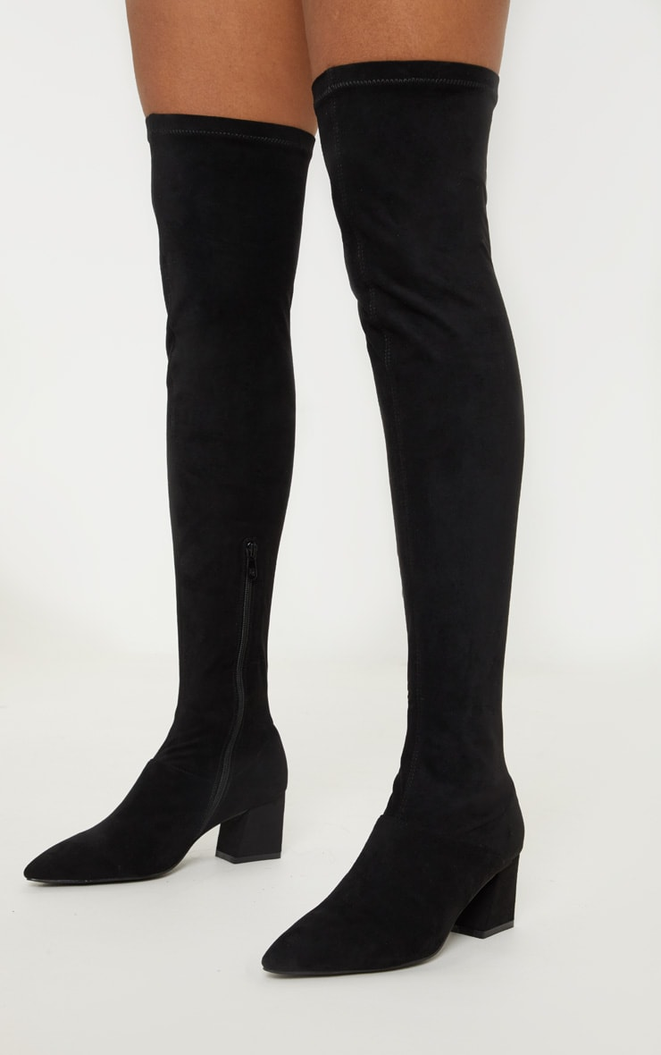 Black Low Block Heel Knee Boot 2
