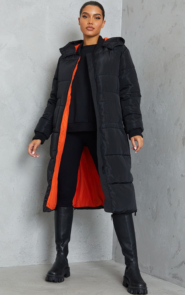 Black Maxi Contrast Hooded Puffer 3