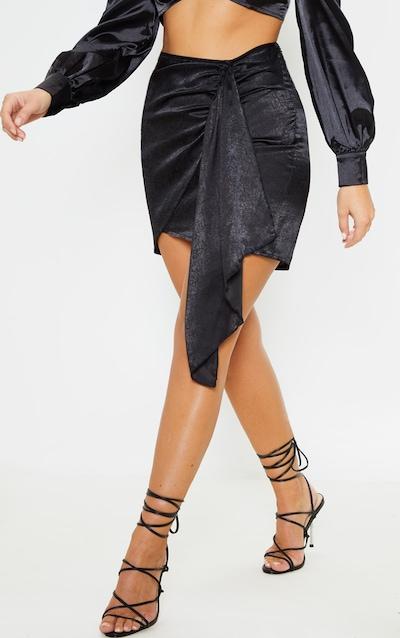 Black Satin Wrap Tie Detail Mini Skirt