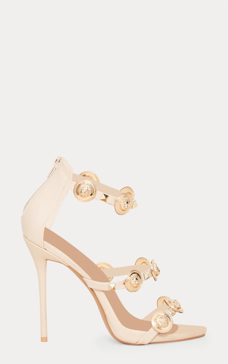 Nude Coin And Stud Triple Strap Sandal 3