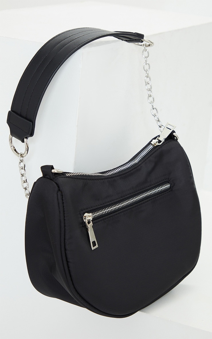 Black With Silver Chain Shoulder Bag 2