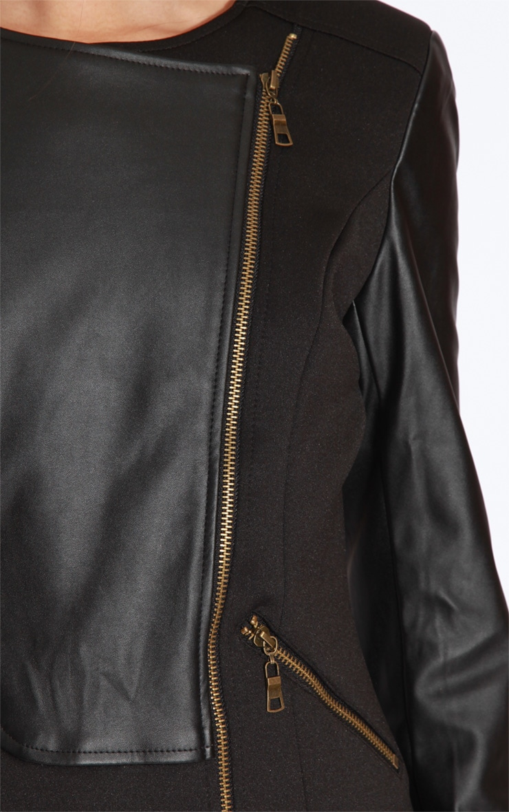 Brook Black PU Panel Biker Jacket 4
