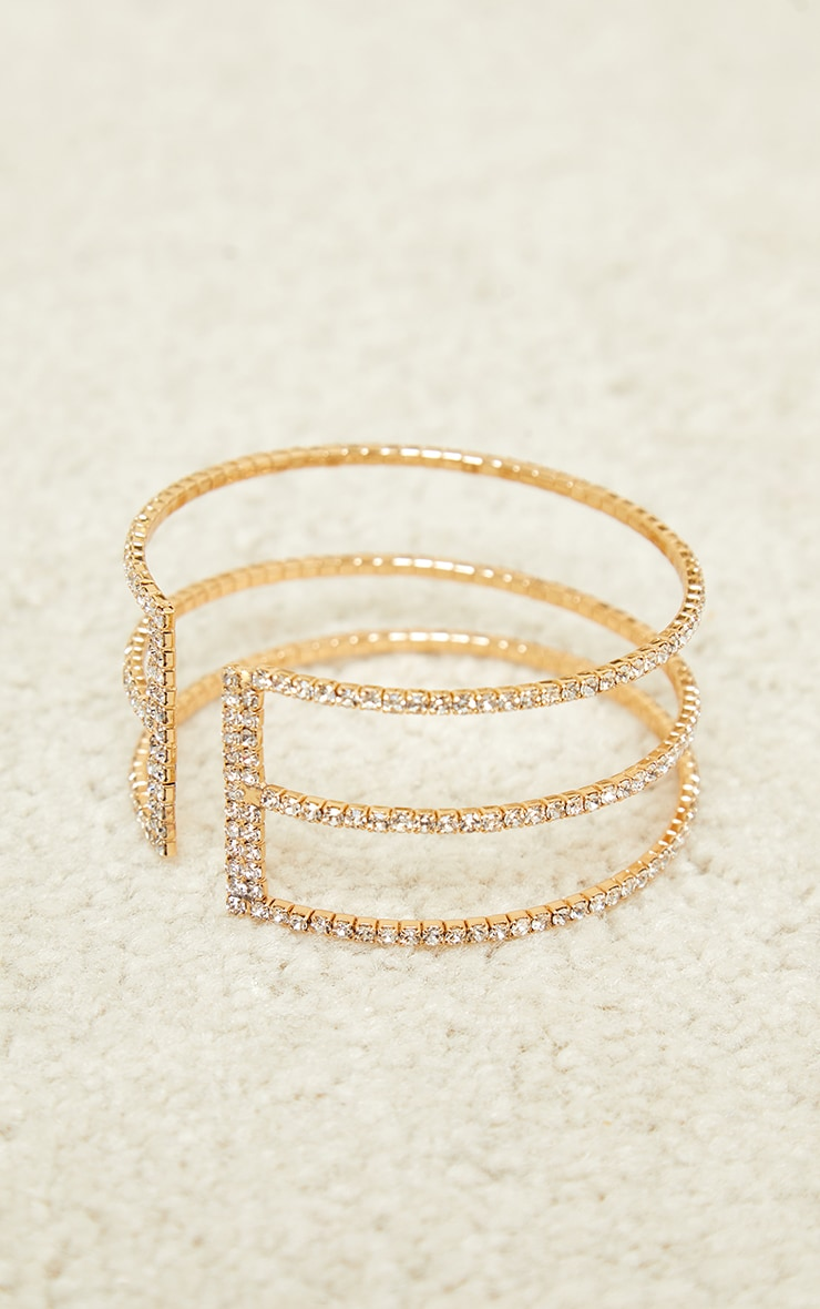 Gold Diamante Three Row Cut Out Bracelet 3