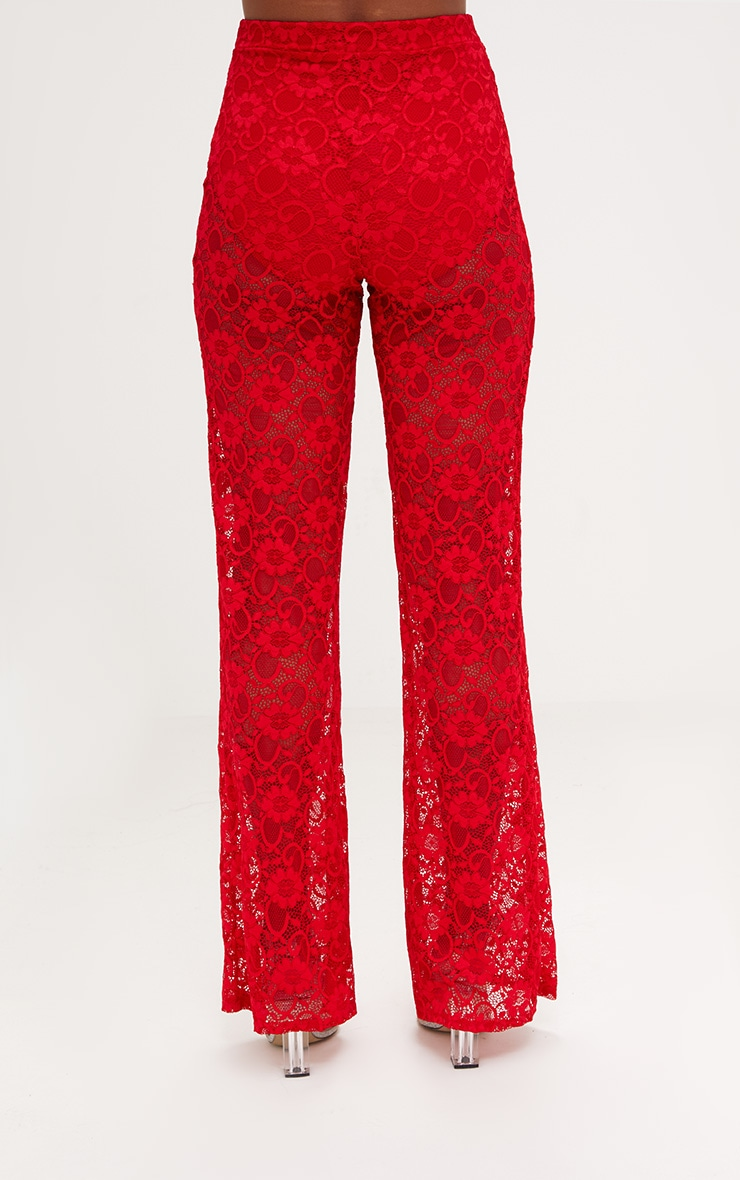 Red Lace Wide Leg Trouser  3