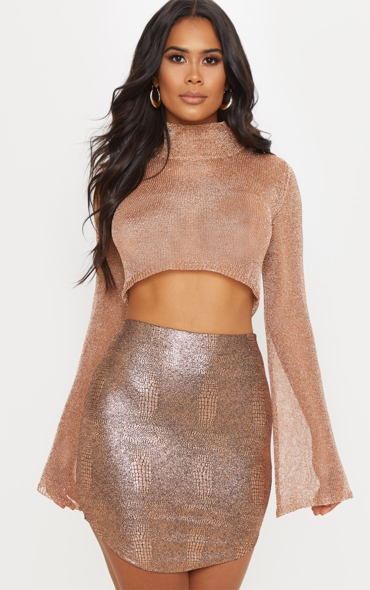Rose Gold Metallic Knitted Crop Top  1