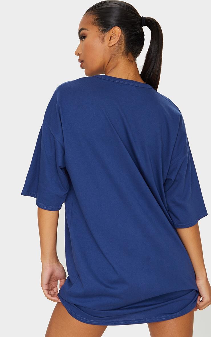 Navy Chicago Slogan Oversized T Shirt Dress 2