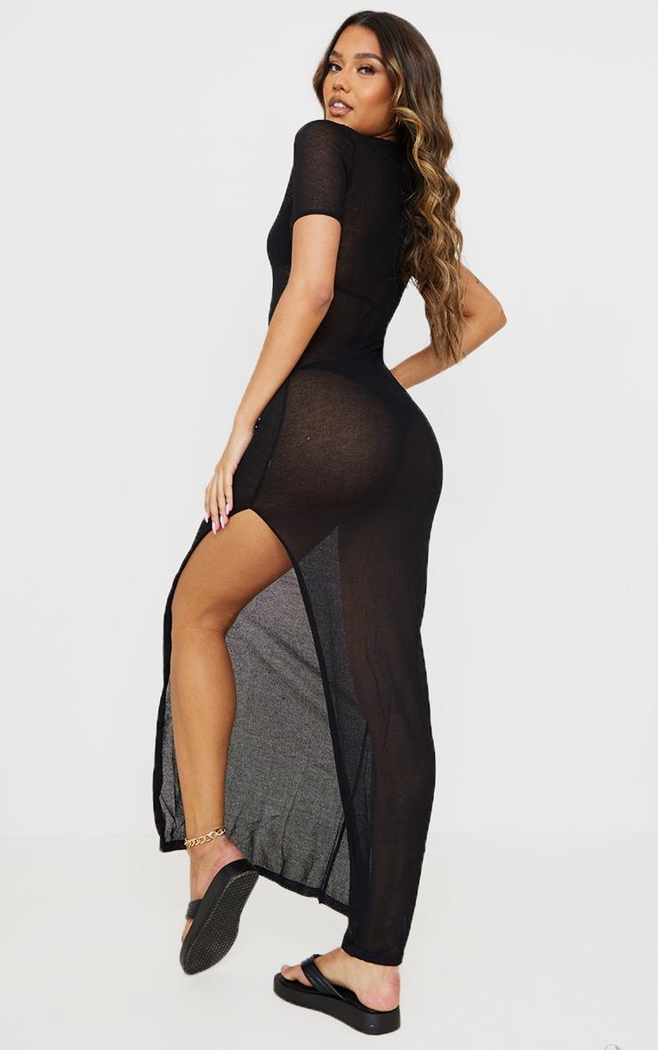 Black Sheer Knit Collar Detail Maxi Dress 2