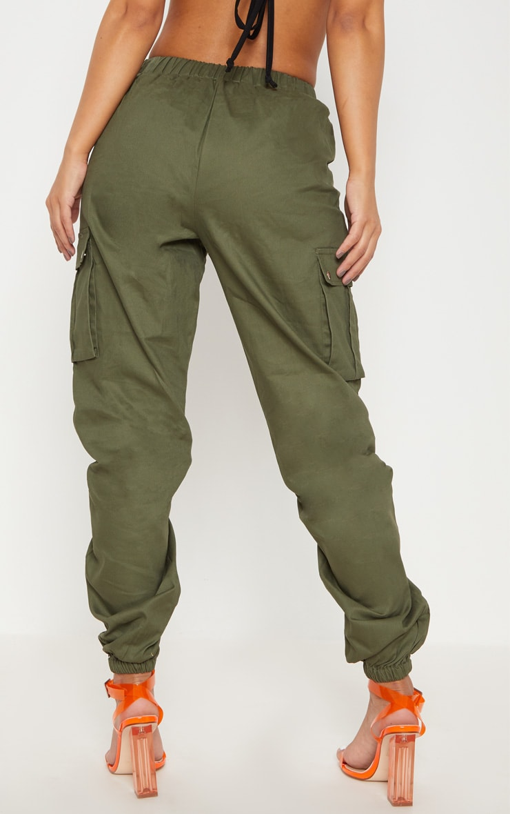 Petite Khaki Pocket Detail Cargo Trousers 4
