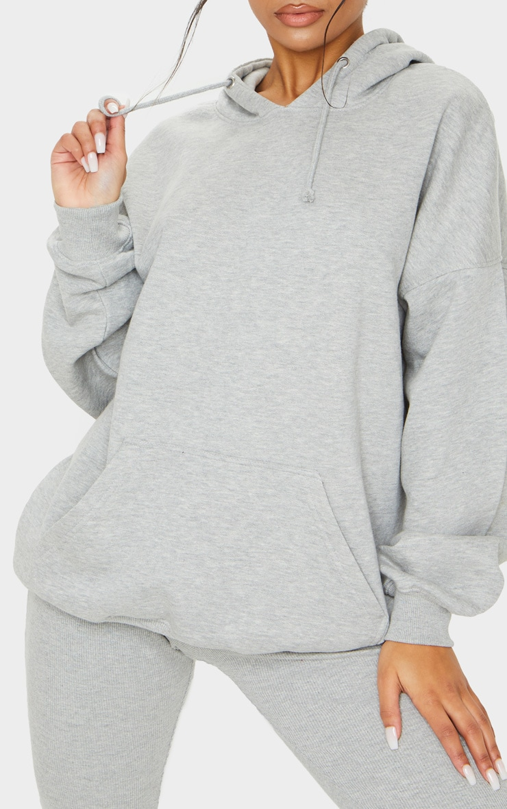 Grey Oversized Pocket Front Drawstring Hoodie 4