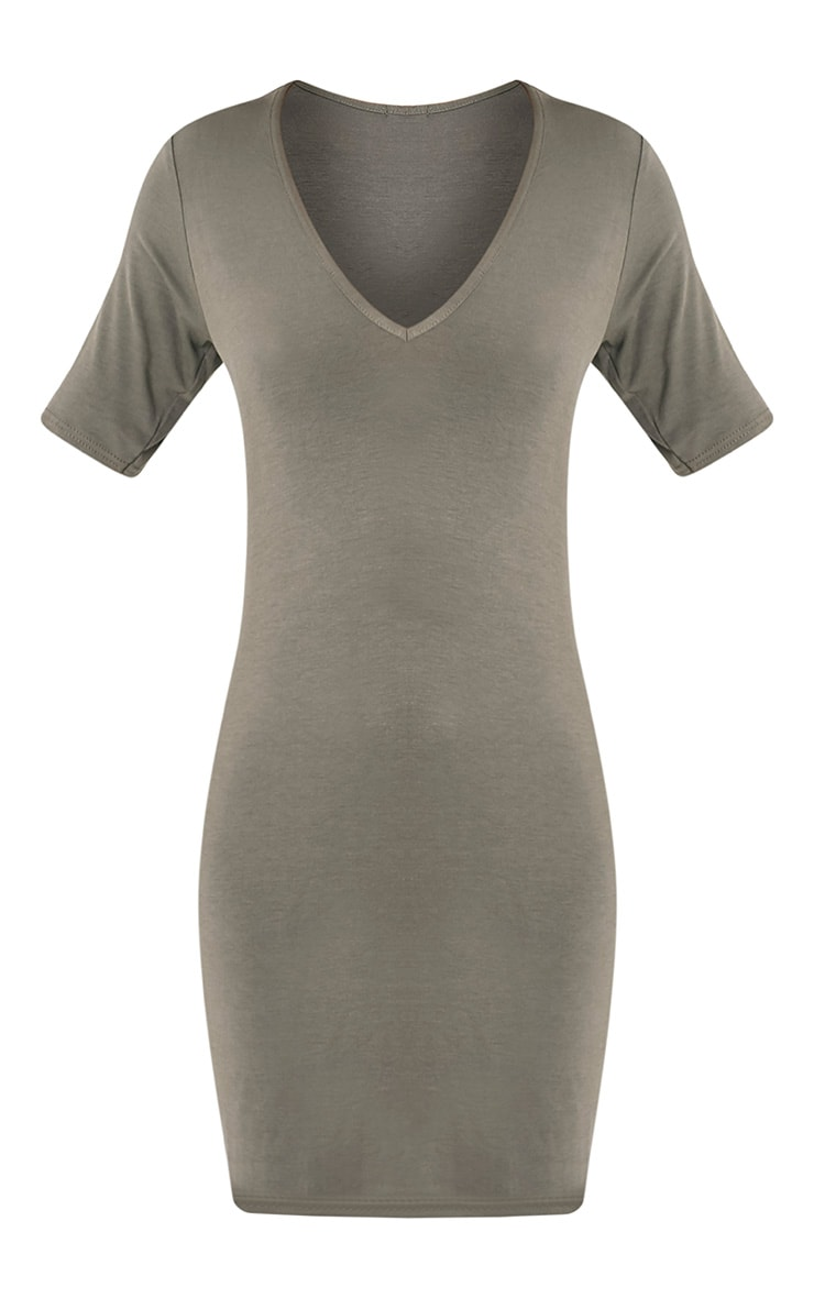 Basic Khaki Plunge V Neck T Shirt Dress 3