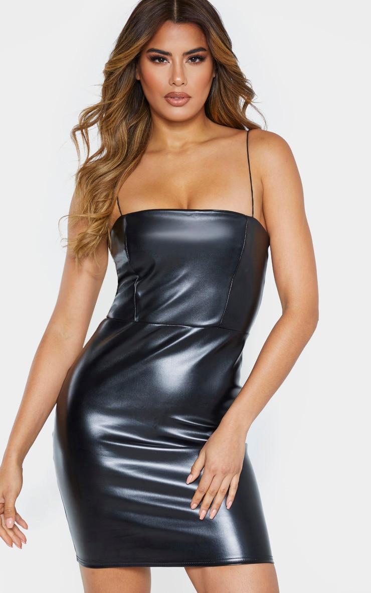 Tall Black Strappy Square Neck PU Mini Dress 1