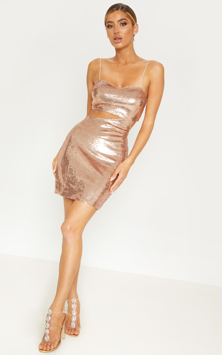 0b6495314a405 Rose Gold Sequin Strappy Bodycon Dress | PrettyLittleThing USA