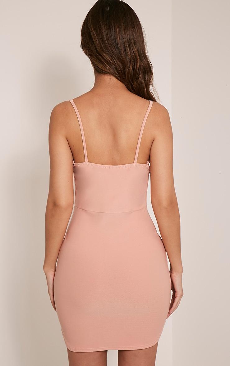Pammi Blush Strappy Crepe Panel Bodycon Dress 2