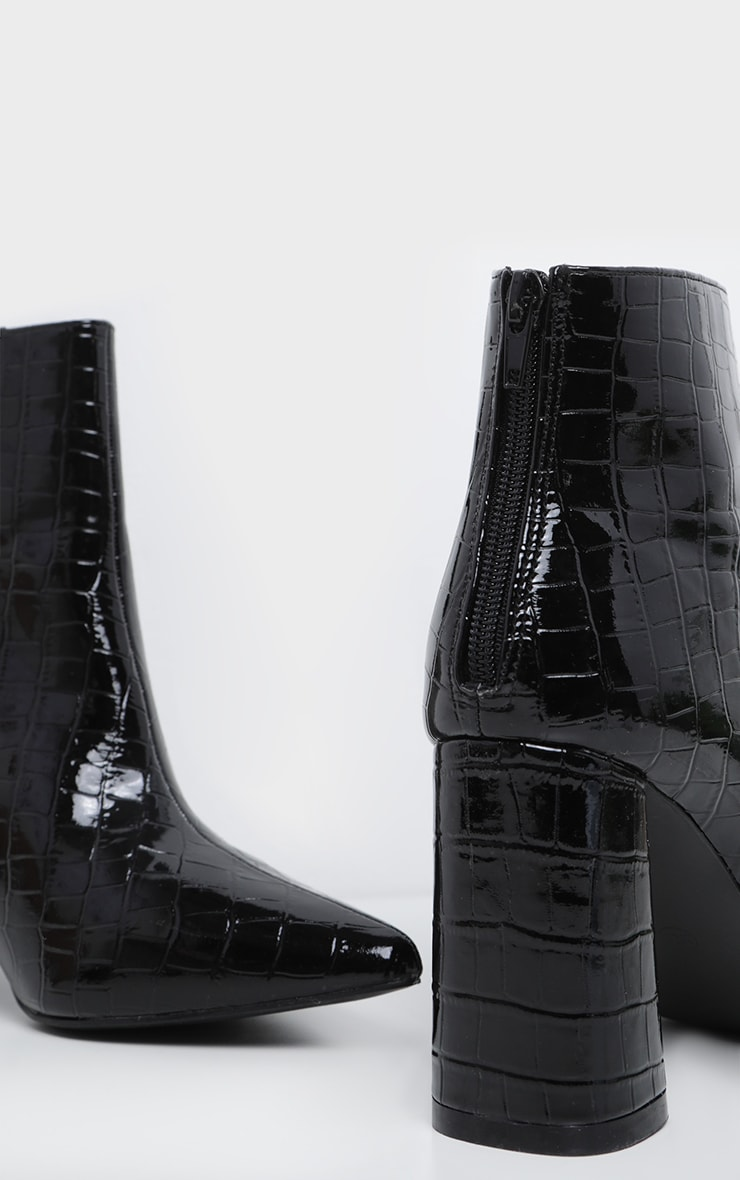 pointu croco noires Bottines talons à à bout vernies f7Ygyb6