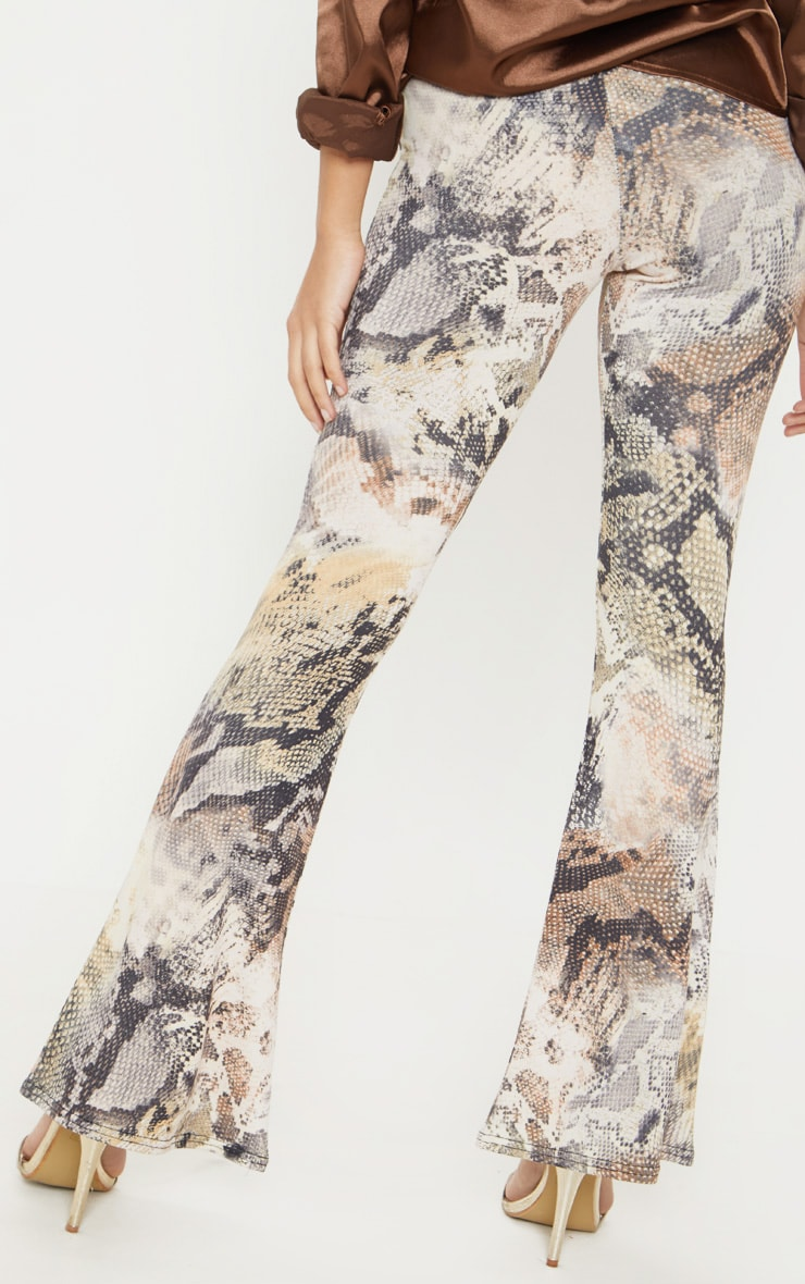 Petite Brown Flare Snake Print Trousers 4