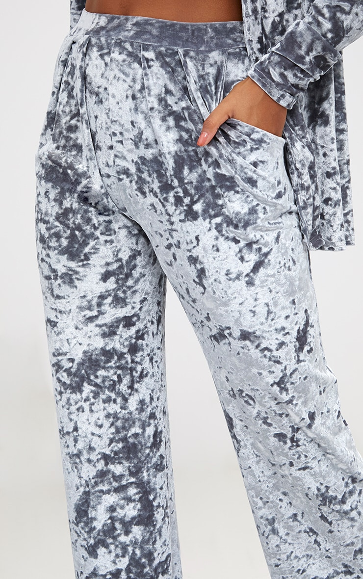 Silver Crushed Velvet Wide Leg Suit Trousers 5