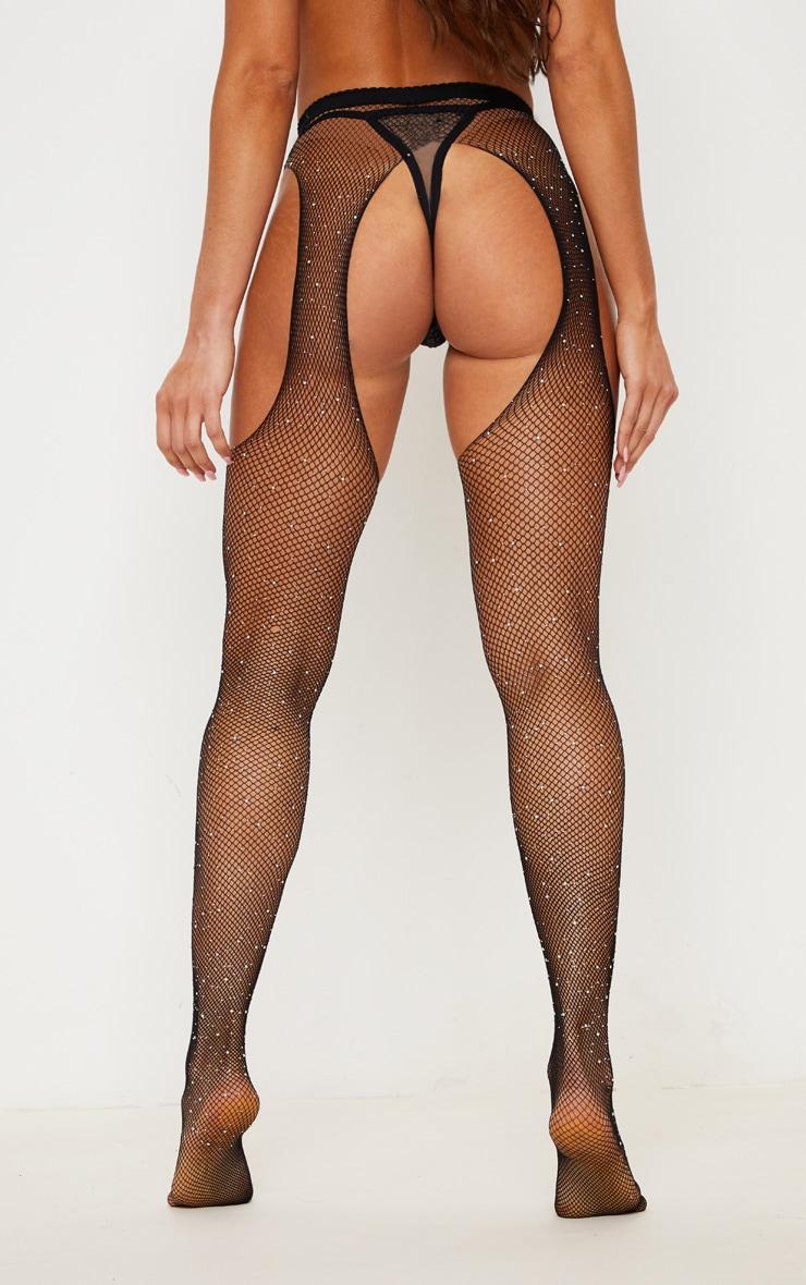 Black Diamante Fishnet Suspender Stockings 3