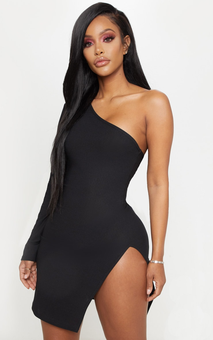 Shape Black One Shoulder Split Bodycon Dress 4